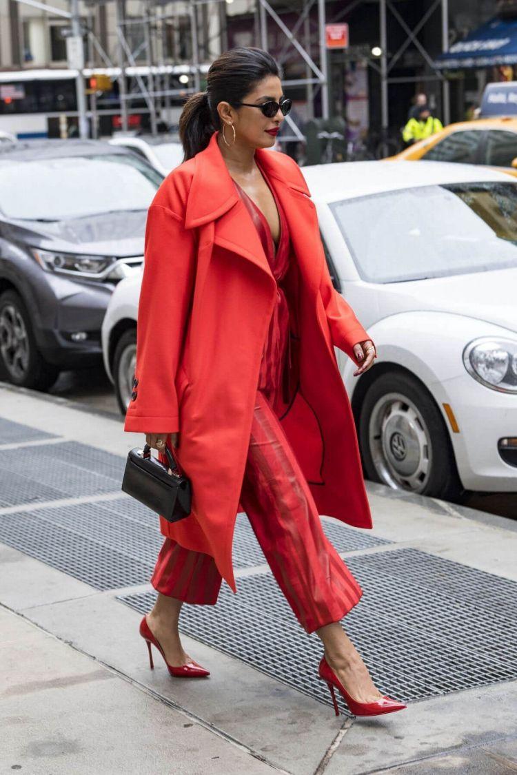 Priyanka Chopra Walking on the Streets of New York Wearing a Red Dress