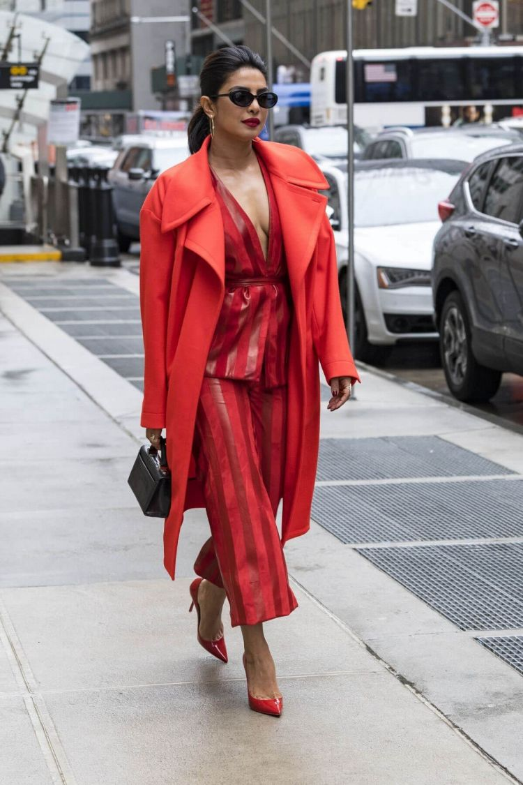 Priyanka Chopra Walking on the Streets of New York Wearing a Red Dress