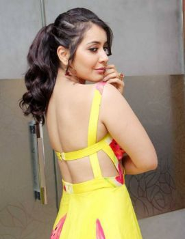 Glamorous Rashi Khanna in Backless Yellow Dress
