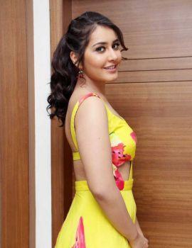 Glamorous Rashi Khanna in Backless Yellow Dress