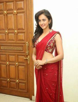 Rakul Preet Singh Stills in Red Saree at Tiger Movie Audio Launch