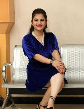 Ramya Pasupuleti in Blue Dress at 1st Rank Raju Movie Teaser Launch