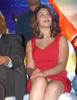 Richa Gangopadhyay in Red Dress at Mirapakaya Audio Launch