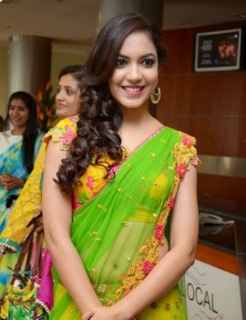 Ritu Varma Photos in saree at Hi Life Exhibition Launch