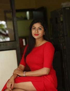 Sai Akshatha in Red Dress at Special Movie Success Meet