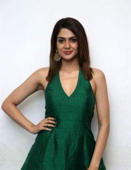 Sakshi Chaudhary in Green Dress Photos at Iruttu Movie Press Meet
