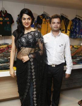 Sakshi Chowdary in Black Transparent Saree at Kalamandir Store Launch