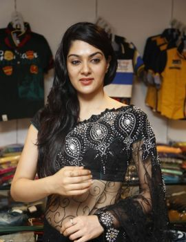 Sakshi Chowdary in Black Transparent Saree at Kalamandir Store Launch