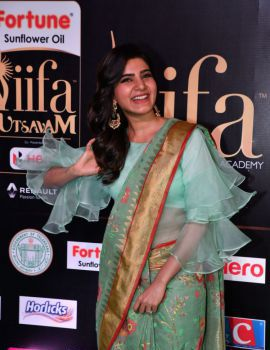 Samantha in Saree at IIFA Utsavam Awards 2017 Day Two