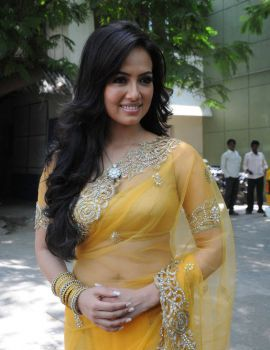 Telugu Actress Sana Khan Latest Stills in Yellow Saree