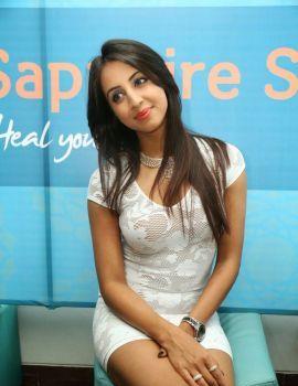 Sanjjanaa in White Skirt at Sapphire Spa Launch
