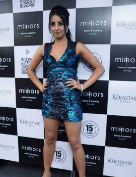 Sanjjanaa Stills at Mirrors Salon Mobile App Launch