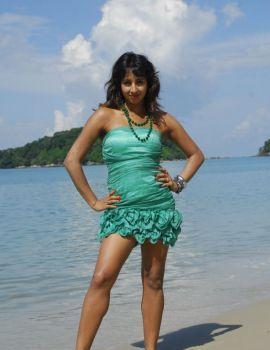 Telugu Actress Sanjana Stills from Mugguru Movie
