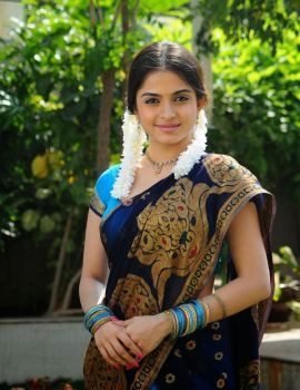 Telugu Actress Sheena Shahabadi Photos in Traditional Blue Saree