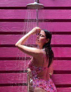 Shraddha Arya Shares Photos in Pink Floral Monokini