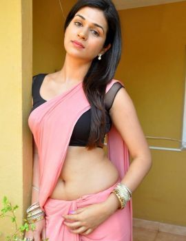 Shraddha Das in Pink Saree at Dracula 3D Muhurat