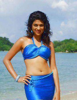 Telugu Actress Shraddha Das in Blue Bikini