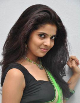 Telugu Actress Shravya Reddy Stills in Green Saree