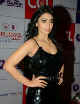 Shriya Saran in Designer Black Long Sleeveless Gown at CCL Charity Dinner