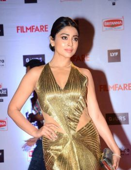 Shriya Saran Stills in Golden Backless Gown at Filmfare Awards