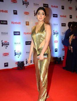 Shriya Saran Stills in Golden Backless Gown at Filmfare Awards
