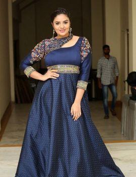 Telugu Actress Sreemukhi in Blue Dress at Diksoochi Movie Audio Launch