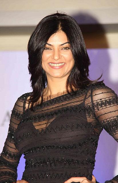 Sushmita Sen Stills in Black Dress
