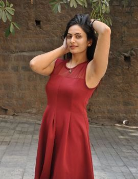 Swetha Varma Photos in Red Dress at Mithai Movie Launch