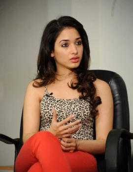 Beautiful South Actress Tamannaah in Leopard Top and Red Pant