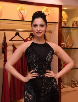 Tamanna Black Dress Photos at Esha Party Wear Collection Preview