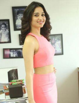 Tamannaah Stills in a Pink Dress at Telugu Movie Oopiri Interview