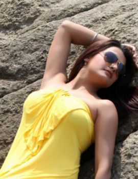 Tashu Kaushik's Photoshoot in Yellow Gown in Goa Beach