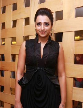Trisha in Black Dress at Shop CJ Tamil Channel Launch