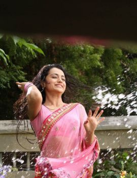 Trisha Latest Photo Stills in Wet Pink Saree