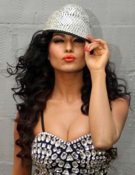 Veena Malik Photoshoot Stills in Sparkling Stone Studded Blue Dress