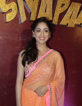 Yami Gautam in Light Orange Saree at the Total Siyapaa Trailer Launch