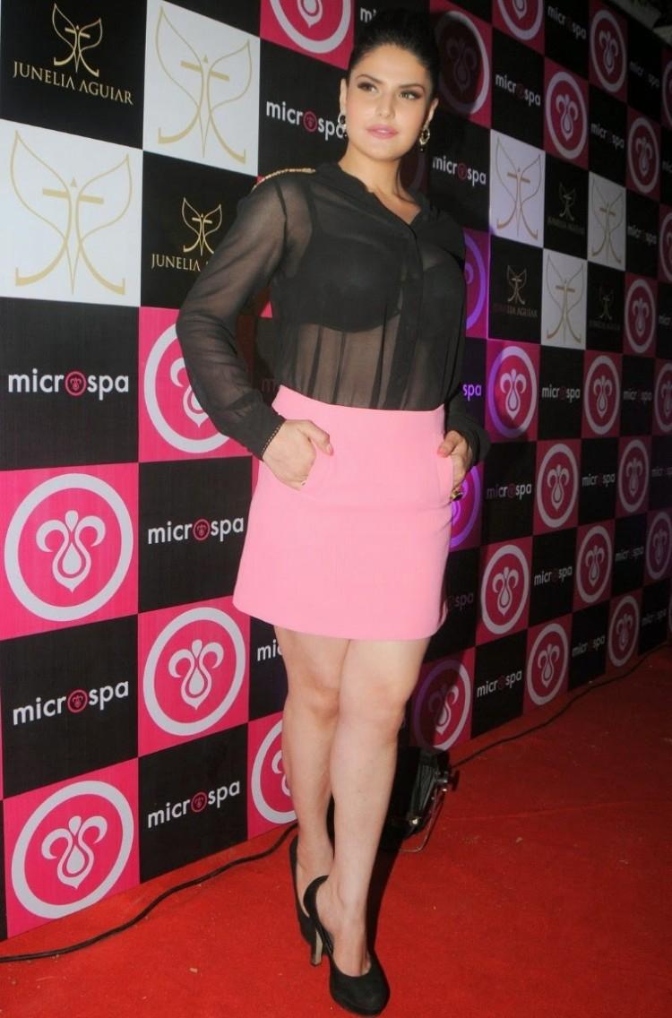 Bollywood Actress Zareen Khan at Mircrospa Launch
